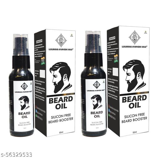 Luxurious Ayurvedic Gold - Beard Oil for Beard Growth and Nourishment - 50 ml (Pack of 2)