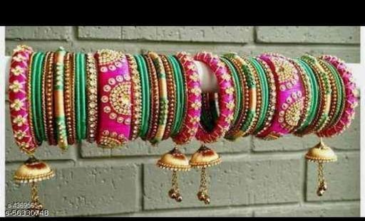 Akdant bangles collection silk dori thread bangle set of 50 pink green golden loom