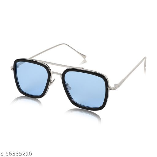 Alchiko Newest Unisex TK-201 Retro Square Sunglasses With UV Protection Silver Frame, Blue Lens, Free Size