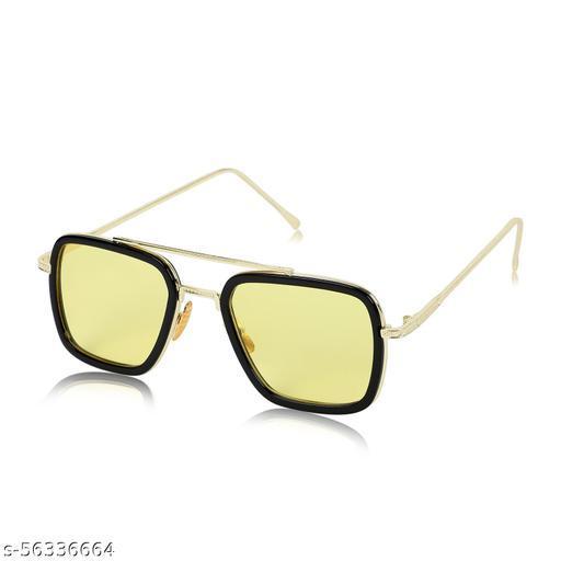 Alchiko Newest Unisex TK-201 Retro Square Sunglasses With UV Protection Golden Frame, Yellow Lens, Free Size