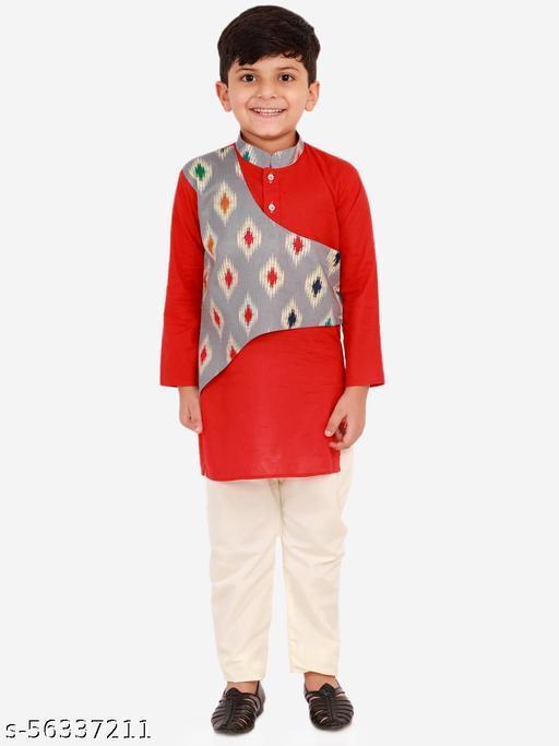 KID1 Full Sleeves Ikat Print Front Panel Kurta With Pajama - Red