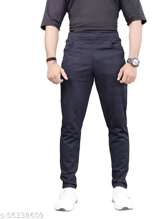 Men Solid Checked Slim Fit Track Pants