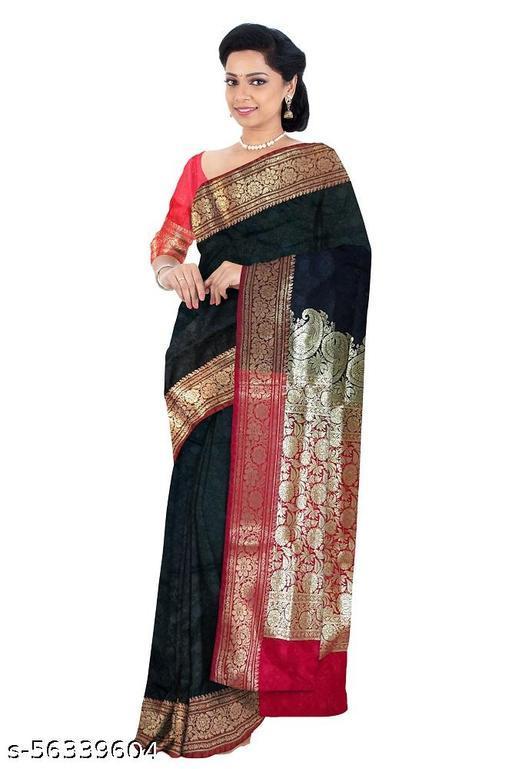 Bridal Banarasi Silk Black and Red Saree