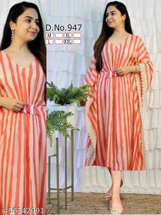 Orange and White designer kaftan kurti