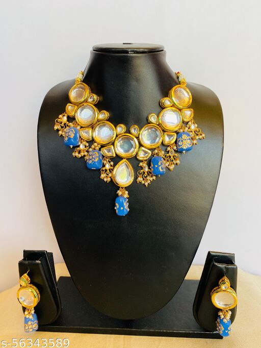 Polki Kundan Necklace Set with back side Minakari Colour (Lavendar)
