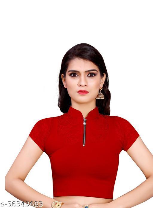 DDH Girl's & Women's Cotton Lycra Blend Readymade Band Collar Short Sleeve Blouse