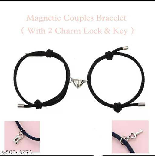 Magnetic Couples Bracelet ( 2 Pce Black Colour ) Hot Selling Product Valentine Day Best Gift