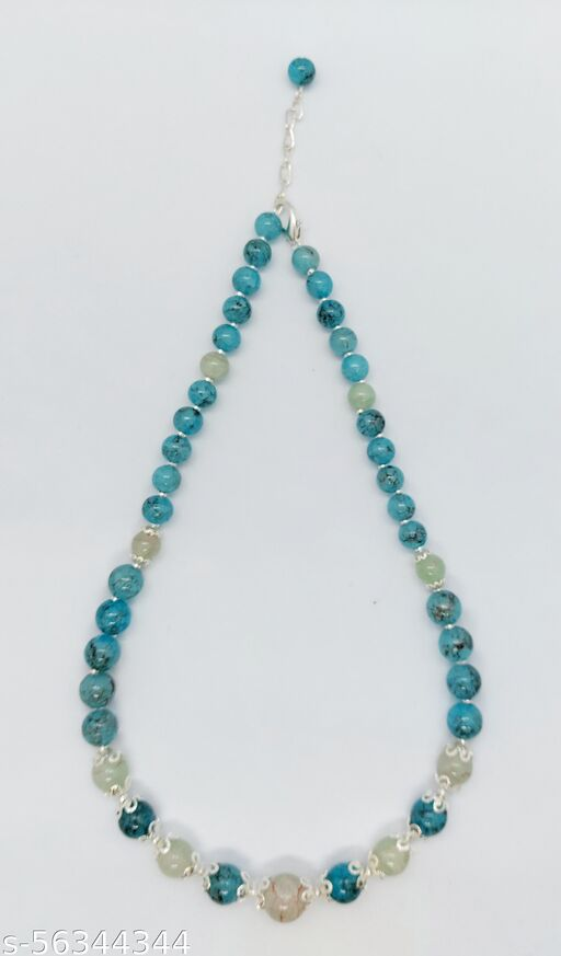 Heddz Turquoise Frosted Glass Beaded Necklace Chain - Beaded Necklace Lanyard Chain - Stylish Party Wear Necklace -  Frosted Chains and Beaded Cords for Women & Girls