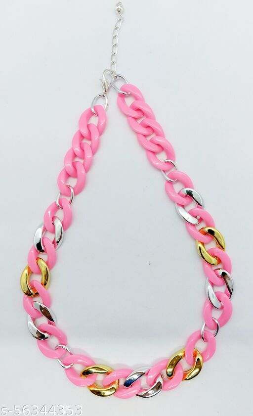 Heddz Pink Acrylic & Glitter Link Necklace Chain - Acrylic Necklace Lanyard Chain - Stylish Party Wear Necklace - Chunky Chains and Beaded Cords for Women & Girls