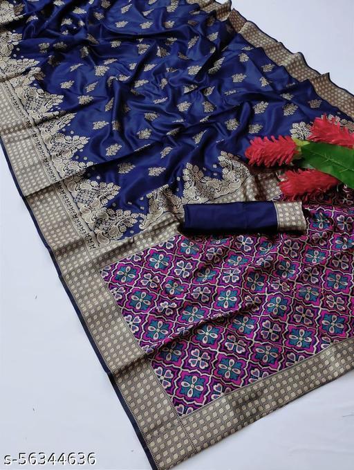 61&7NX Women's Jacquard Silk Saree With Blouse Piece