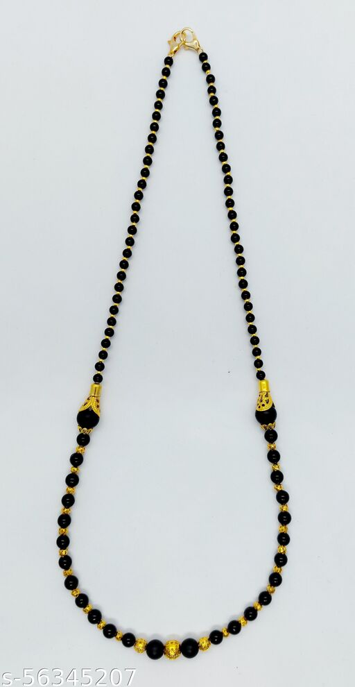 Heddz Black & Gold Stone Beaded Mangal Sutra For Women   Stylish & Modern Mangal Sutra   Handmade Mangal Sutra Necklace & Black Bead Chain For Woman (HMS101)