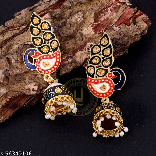 Peacock Meenakari Earring In Brass