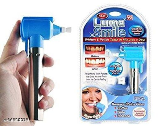 Tooth Polisher Whitener Stain Remover with LED Light Luma Smile Rubber Cups.