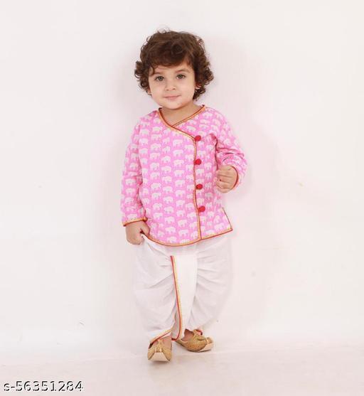 KID1 Krish Angrakha Style Full Sleeves Elephant Print Kurta With Dhoti - Pink