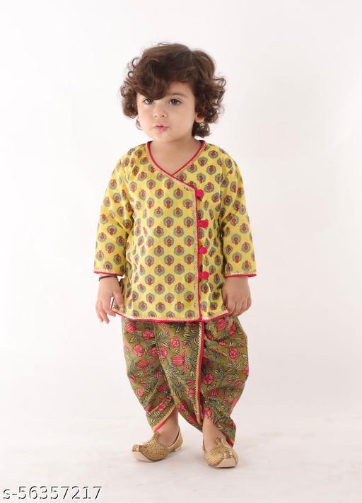 KID1 Full Sleeves Floral Block Print Kurta & Dhoti Set - Yellow