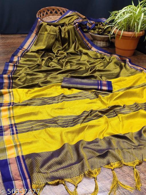 Dhanshvi present  ??Catalogue:-Rajwadi Khan Saree??*  Fabrics :- Soft Pure Khan Cotton Silk With Jacquard Pure Zari Weving Border