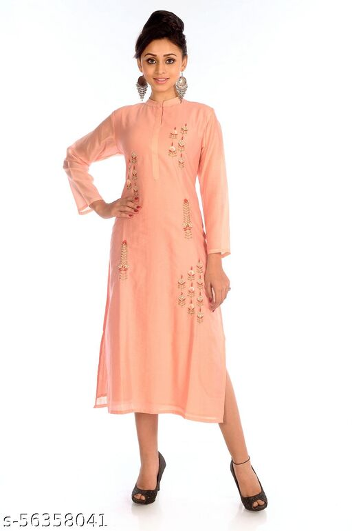 K Glory Women's Ethnic Wear Kurti - 100% Cotton - Peach Colour