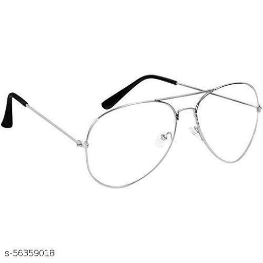 Silver Frame UV Protected Aviator Sunglasses for Men & Women (Clear/Transparent)