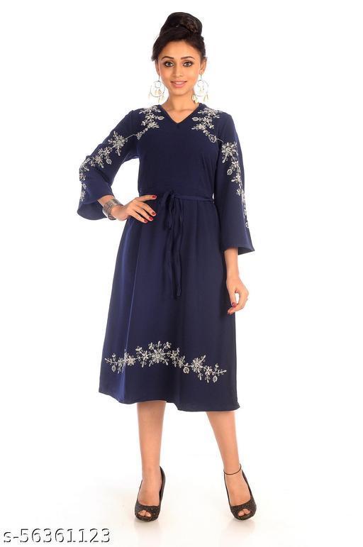 K Glory Women's Ethnic Wear Kurti - 70% Rayon/30% Nylon - Navy Colour