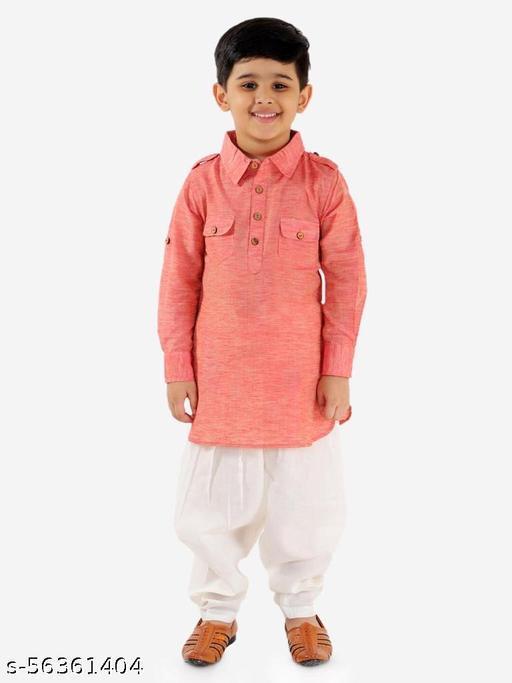 KID1 Pathani Full Sleeves Kurta Salwar - Peach