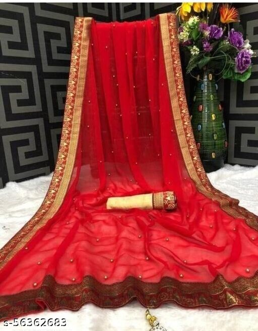 Plain Georgette Motiwork Beaded And Jacquard black lace Border Party Wedding Fashion Sarees With banglori silk blouse