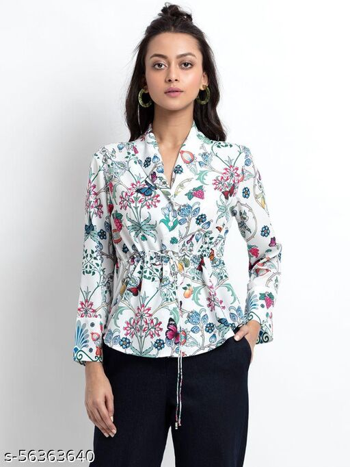 New White Printed Western tops and shirts tor women