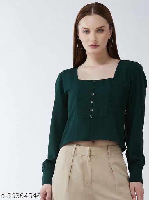 Women Green Crepe Regular Crop Top