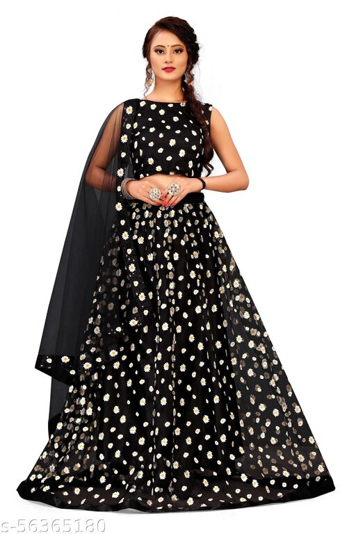 Women's Net Semi-stitched Lehenga Choli