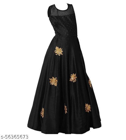LAZZOLICA Fancy Tapetta Silk Full Stich Gown For Girl's
