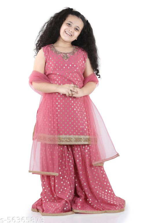 Adiva Kids Foil Print Sleeveless Kurta and Sharara Set For Girls