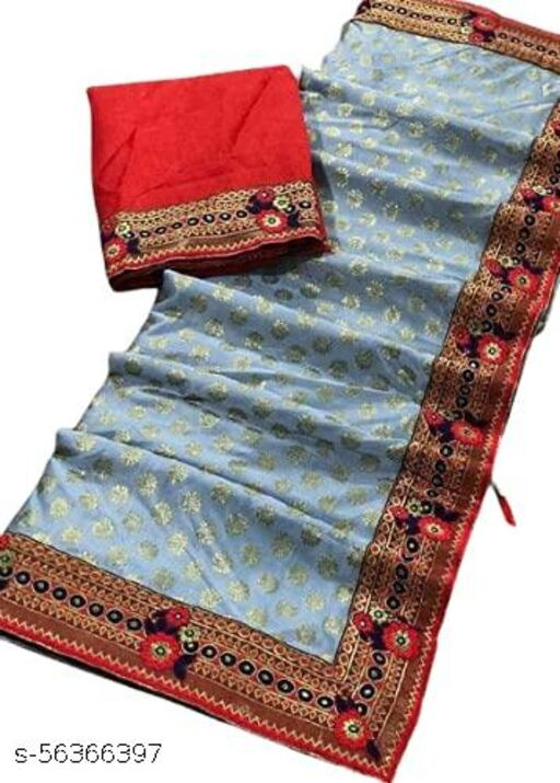Soft Malai Silk Zari Buti Lace Border Sarees with bangalore silk Blouse for Wedding