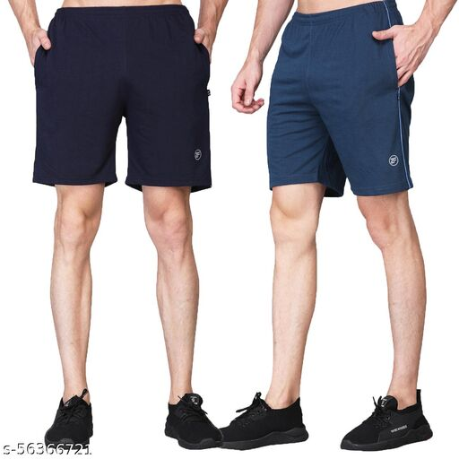 ZIMFIT Men's Stylish Shorts (Pack of 2) with side Zip & Pockets for Running, Yoga, Gym, Regular or Casual wear