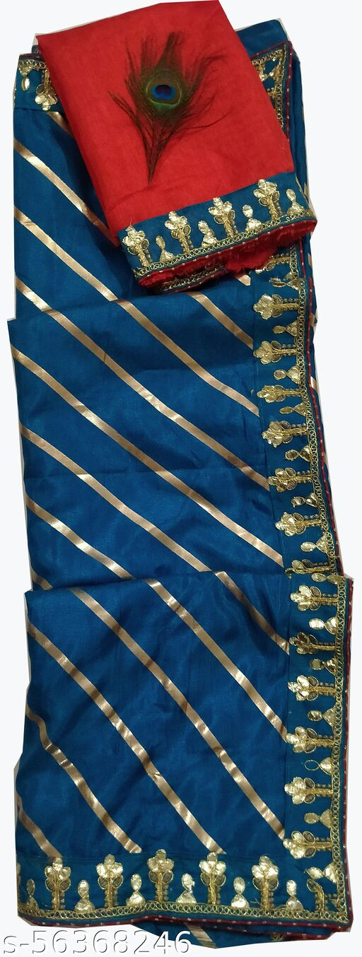 Women's Embroidered Leheria red durga puja Special Sana silk foil leheriya Striped Saree With banglori silk Blouse Piece