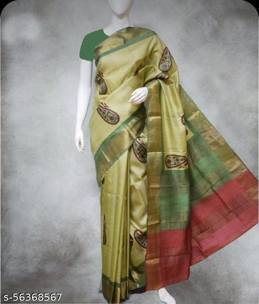 tusar cotton print saree
