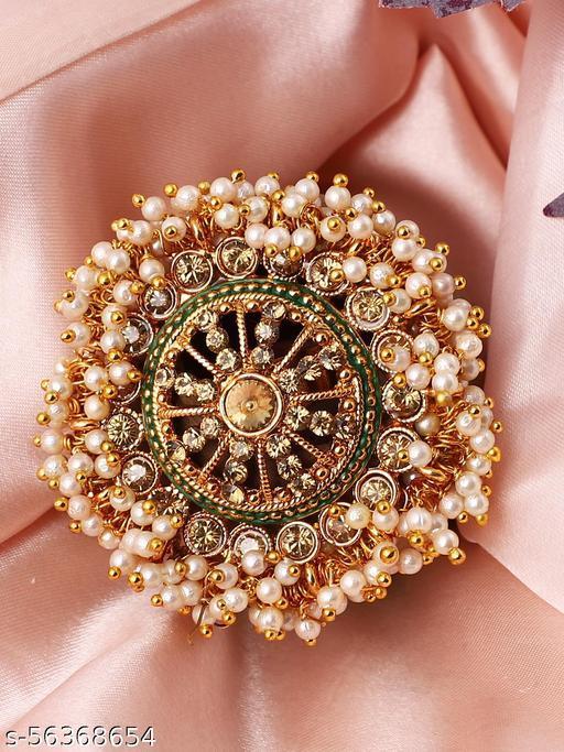 Gold Tone Embellished With Pearls Adjustable Finger Ring