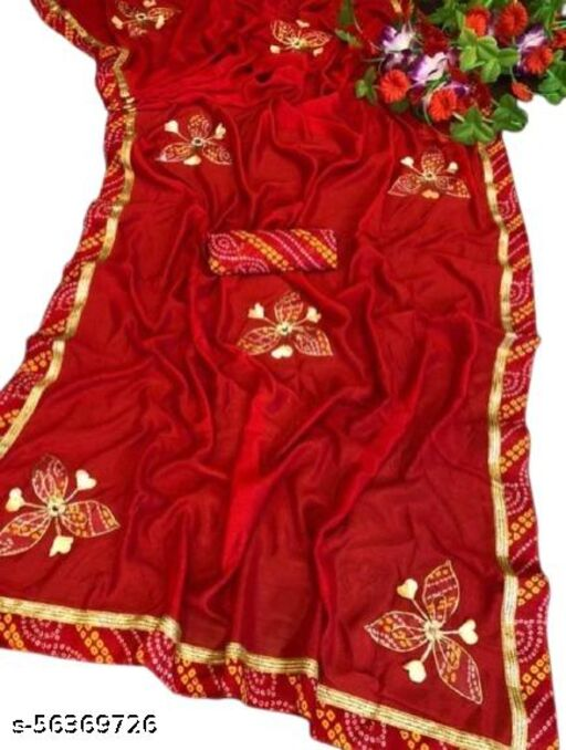 Women's Hand Work Silk Saree With Lace Border And Bandhani Blouse Piece