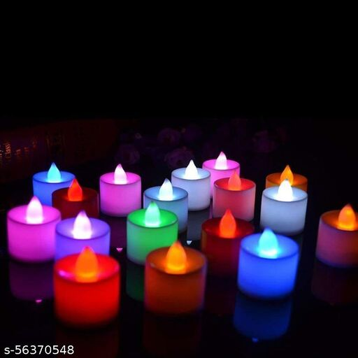 Color Changing Tea Lights (Floor Mounted), Flameless diyas Colorful LED Tealights, Multi Color Flashing Candles for Diwali Festival Decorations - Pack of 24