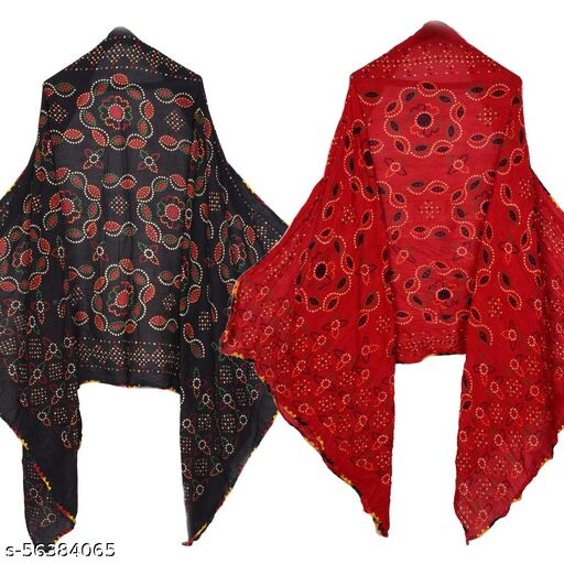 UNIQUE MART Fancy Bandhani Dupatta in Cotton Febric And Chain Border With Printed Surface (Black-Maroon) Combo