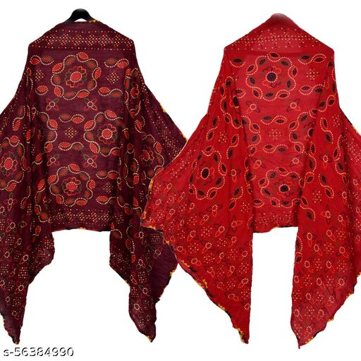 UNIQUE MART Fancy Bandhani Dupatta in Cotton Febric And Chain Border With Printed Surface (Brown-Maroon) Combo
