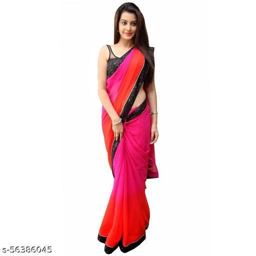 Ek-Pal  Applique, Embellished, Embroidered Fashion Poly Chiffon Saree