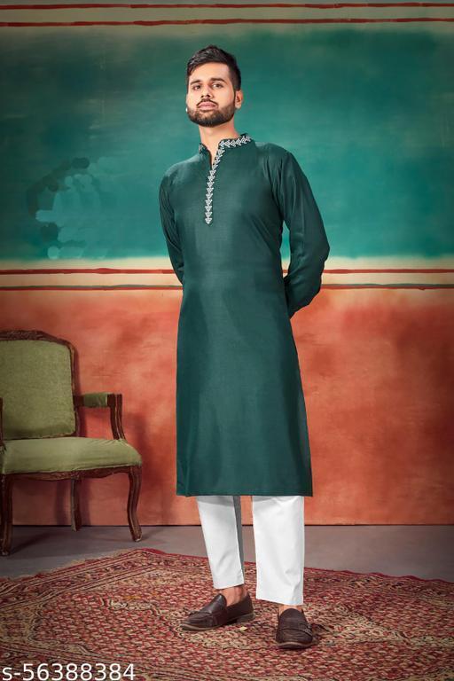 R D Enterprise Present Designer Premium Cotton Men's Ethnic Kurta Green
