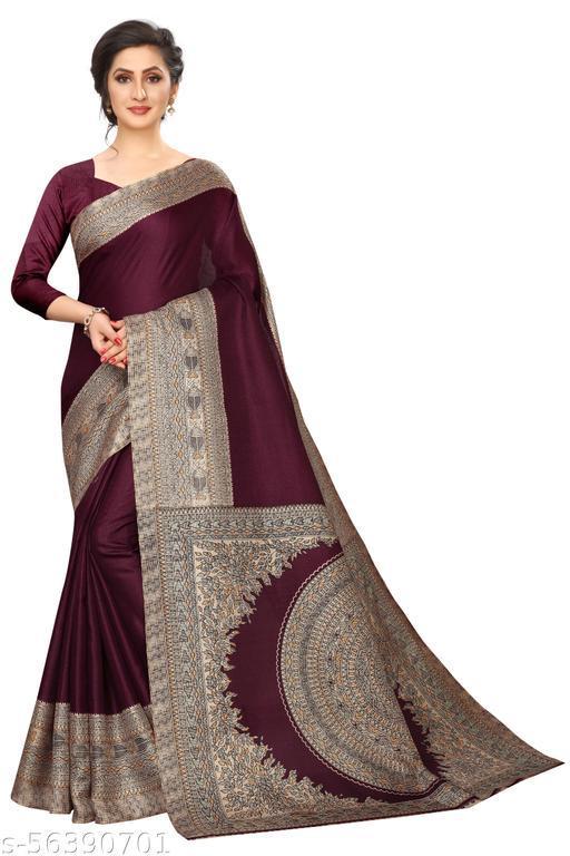 beautiful printed brigth khadi saree