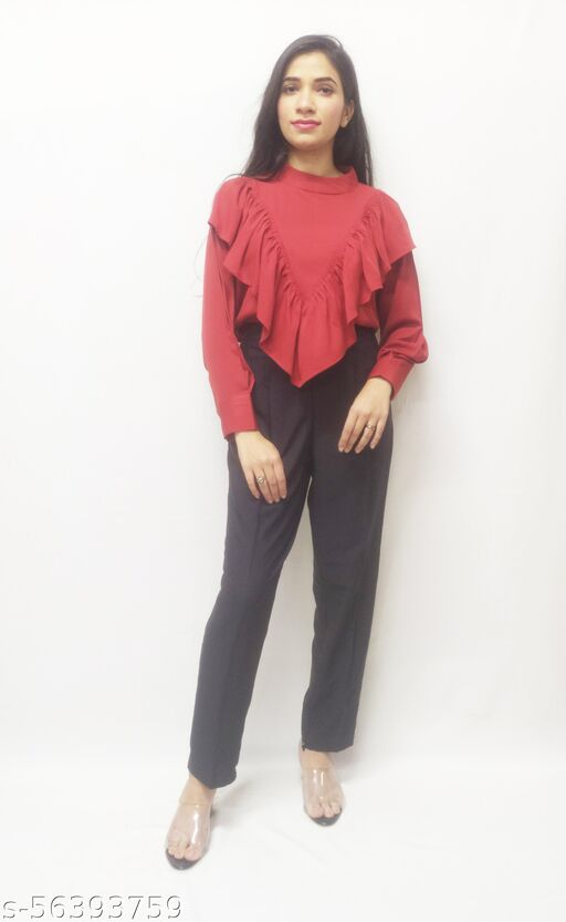 Casual Regular Sleeves Solid Women Brick Top