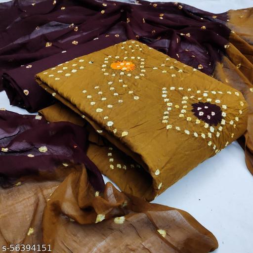 DHARMIK FASHION womens's Pure Cotton hand bandhej print Bandhni Dress Material