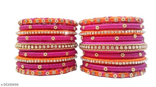 silk dori thread bangles set of 18 orange pink