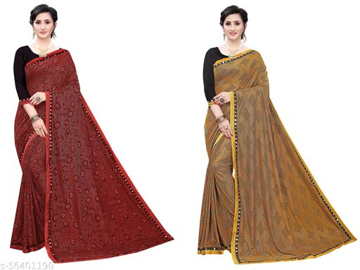 Trendy Store Women's soft knitted sari with jacquard floral pattern and designer lace comes with contrast black blouse