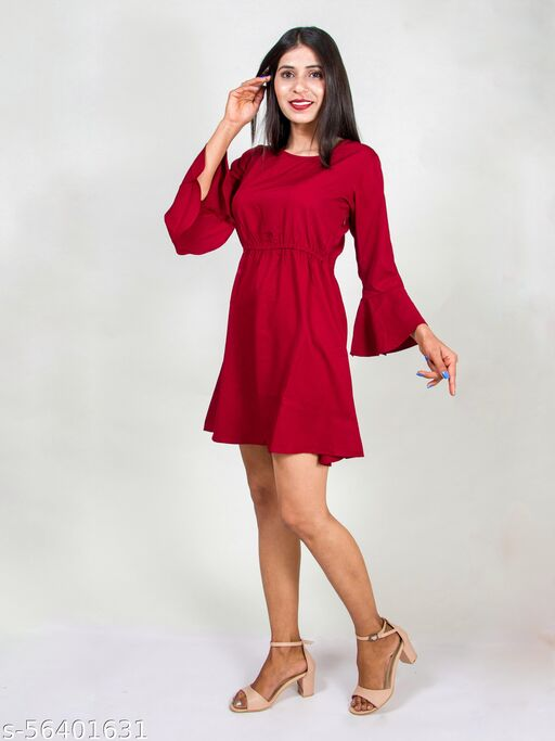 Trendy Flared sleeves mini dress