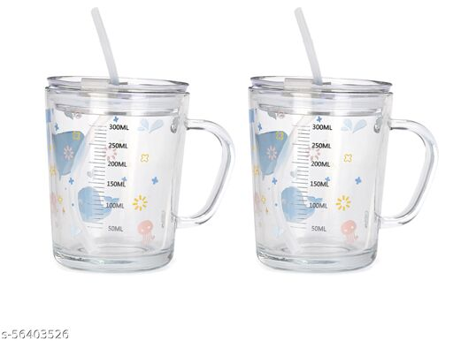 Trendy Glass Sipper for juice/Drink with straw 450 ML (Pack of 2)-VRM01