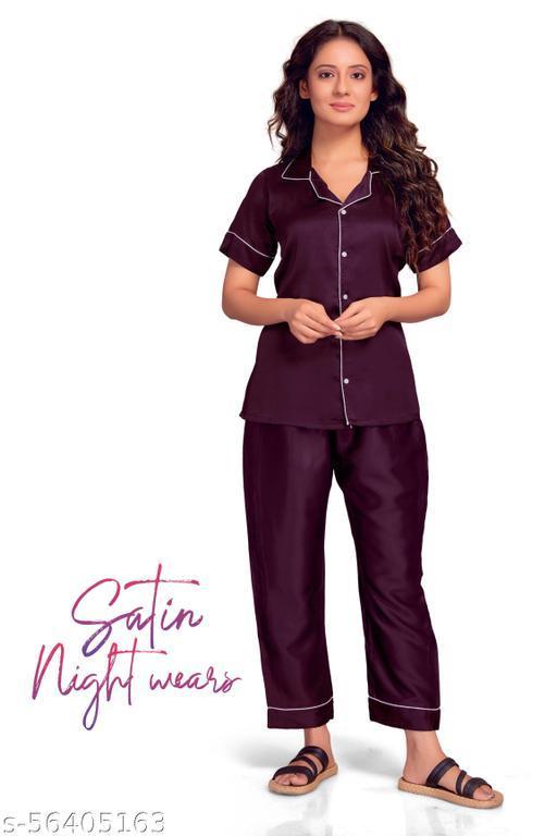 Kevionna  Women's Winey Violet Silky Satin Night Wear