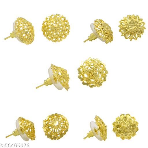 Traditional Gold Plated 5 Pair Of earring Combo Set For women
